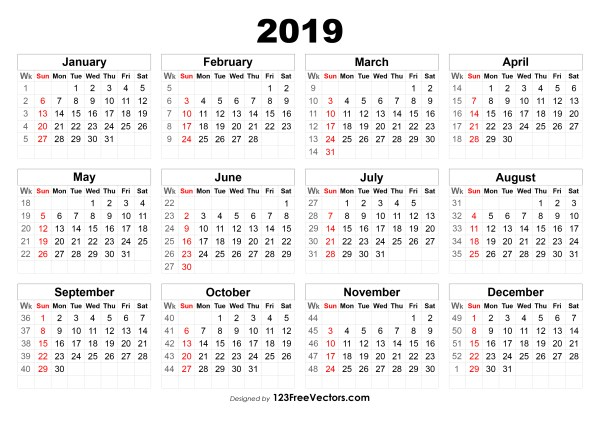 Calendar 2019 With Week Numbers 2019 Calendar with Week Numbers