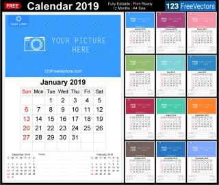 2019 Wall Calendar Template Free