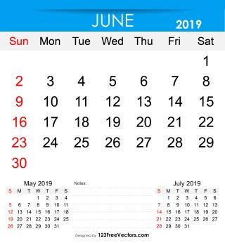 Free Printable June 2019 Calendar