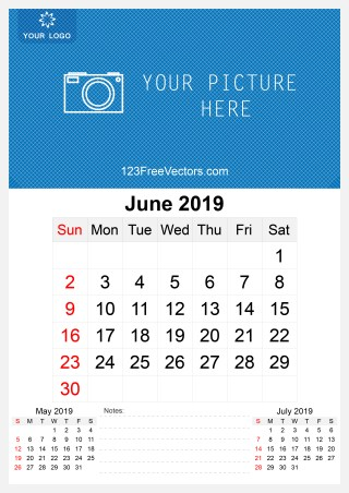 2019 June Wall Calendar Template Free