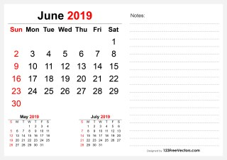 2019 June Desk Calendar Design