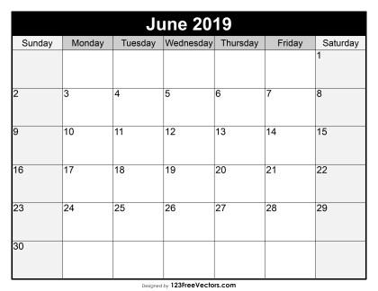 Blank June Calendar 2019