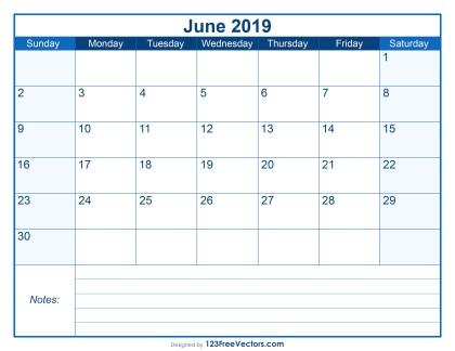 Blank Printable June Calendar 2019