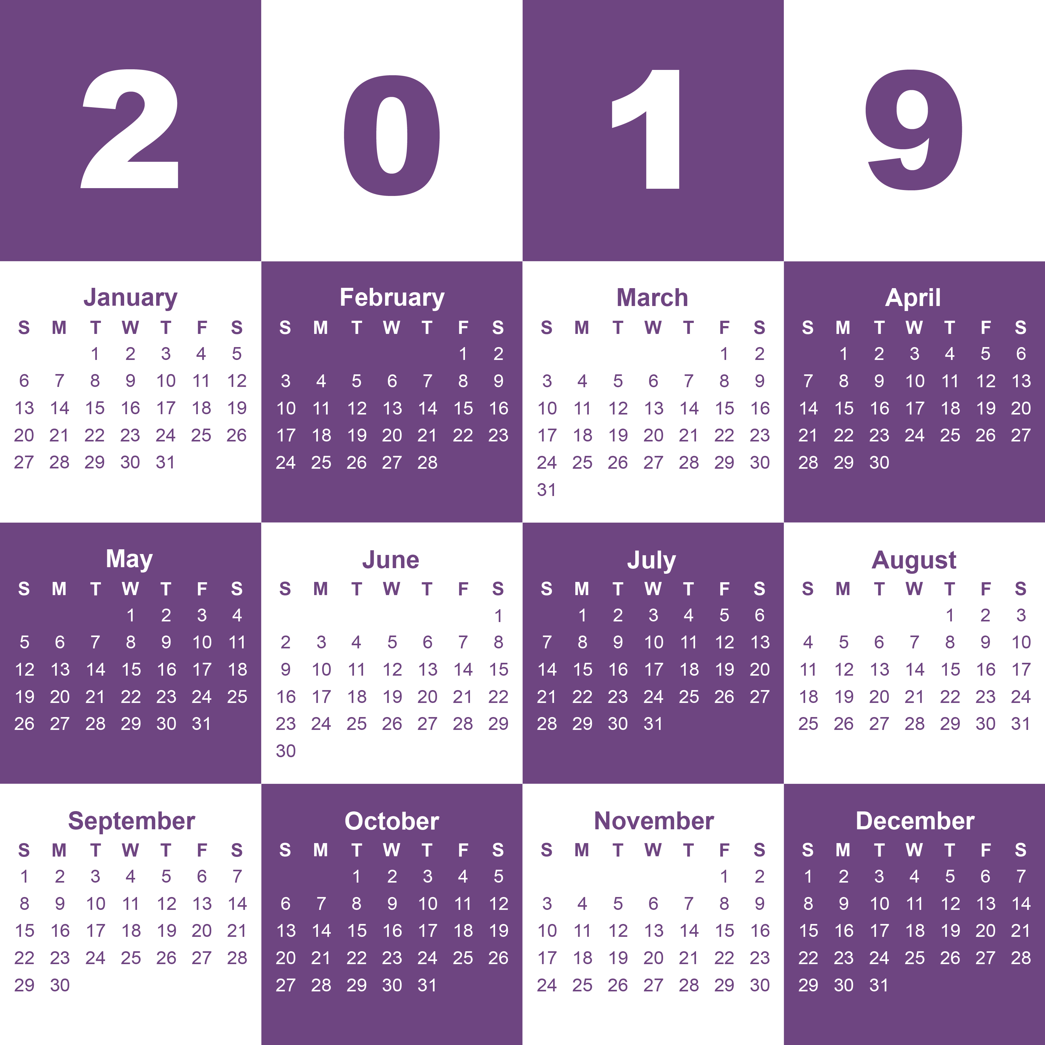 editable monthly calendar template 2019