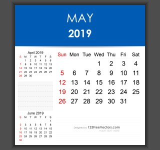 Editable May 2019 Calendar Template