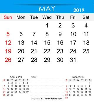 Free Printable May 2019 Calendar