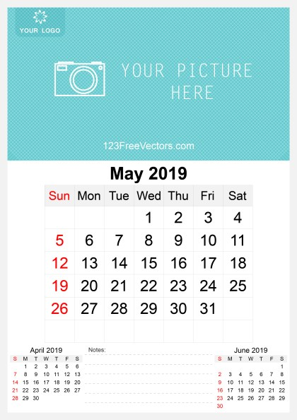 2019 May Wall Calendar Template Free