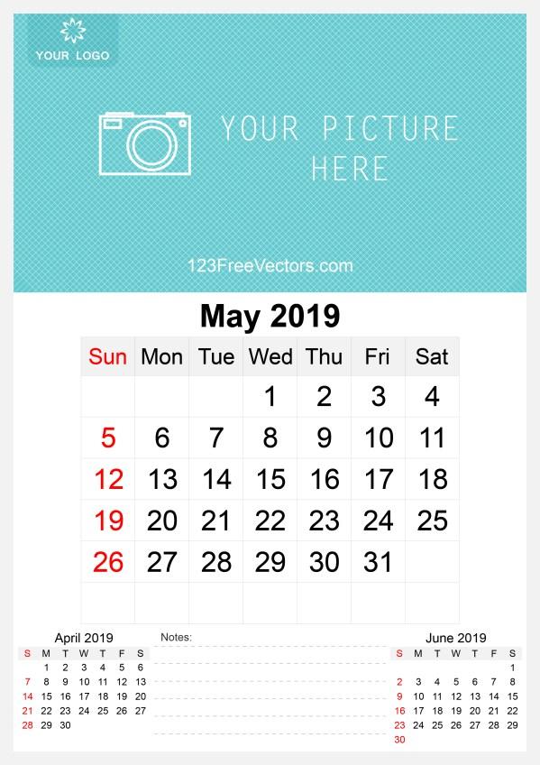 2019 May Wall Calendar Template Free