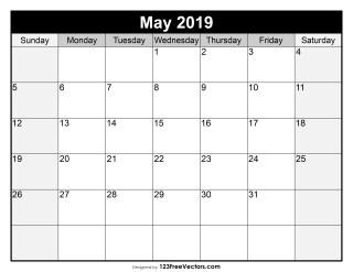 Blank May Calendar 2019