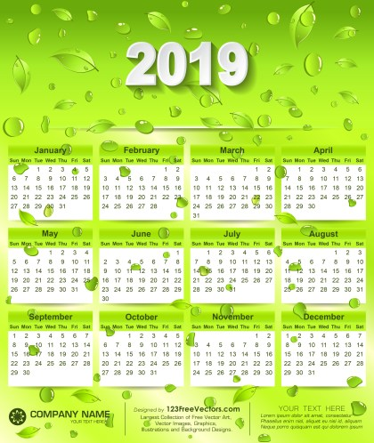2019 Eco Green Wall Calendar Free Vector