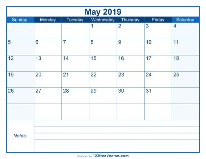 Blank Printable May Calendar 2019
