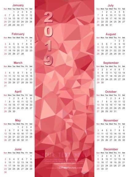 Calendar 2019 Vector Design
