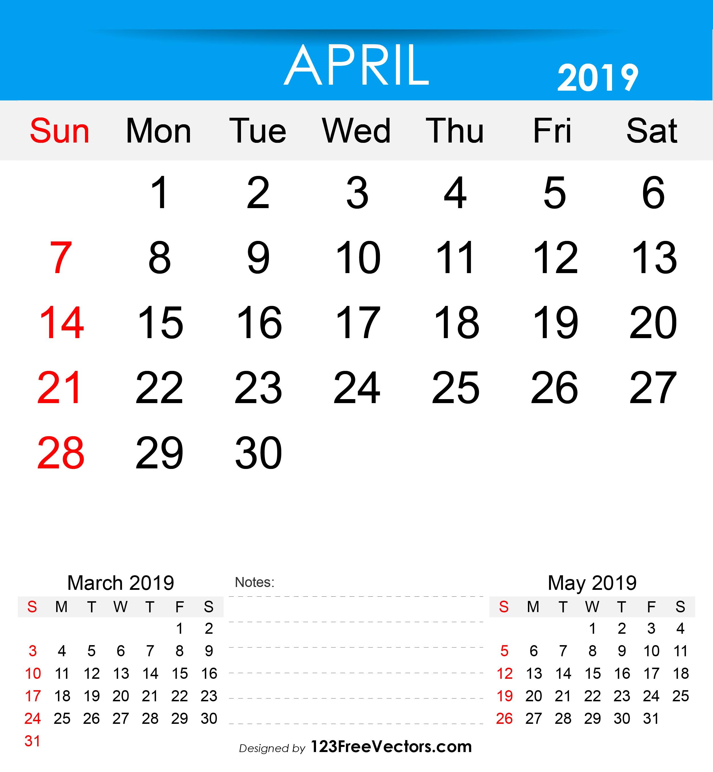 photo regarding Free Printable April Calendar known as Cost-free Printable April 2019 Calendar
