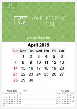 2019 April Wall Calendar Template Free