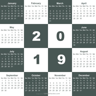2019 Calendar Template Illustrator