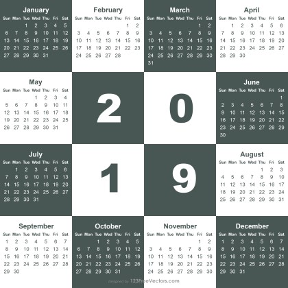 2019 Calendar Template Illustrator