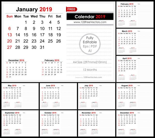 2019 Monthly Desk Calendar Design