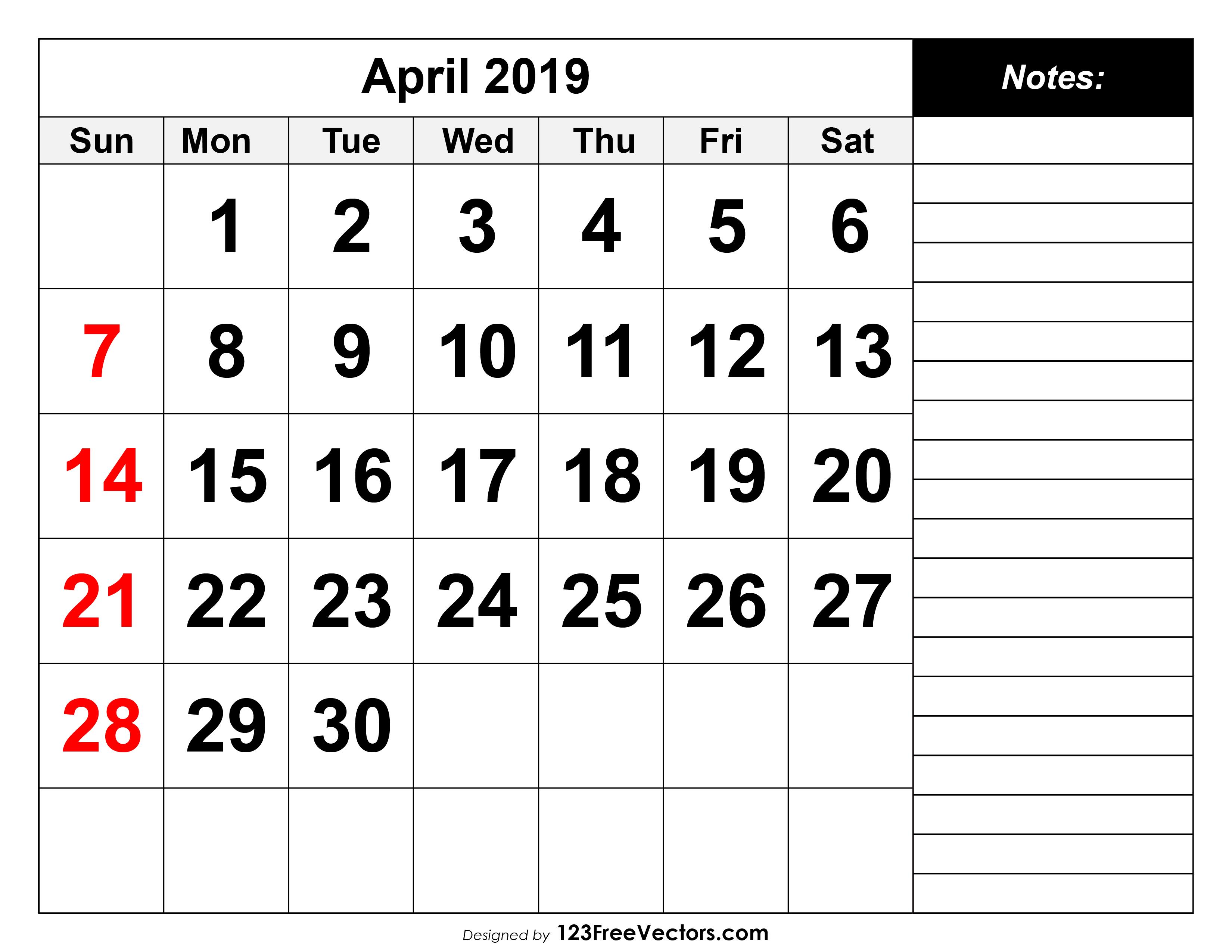 photo relating to Printable April known as April 2019 Printable Calendar