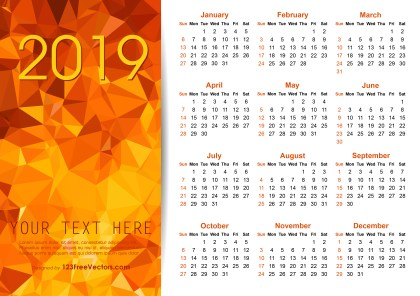 Vector Orange Polygon 2019 Calendar