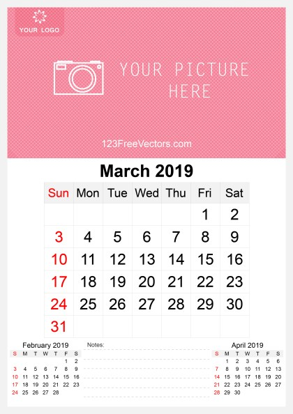 2019 March Wall Calendar Template Free