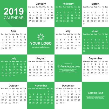 2019 Calendar Adobe Illustrator