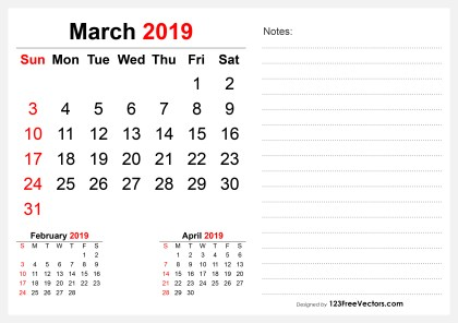 2019 March Desk Calendar Design