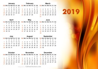 2019 Vector Abstract Orange Calendar Design