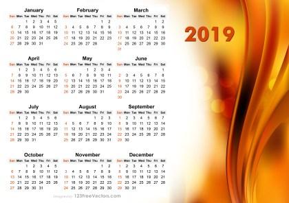 2019 Vector Abstract Orange Calendar Design