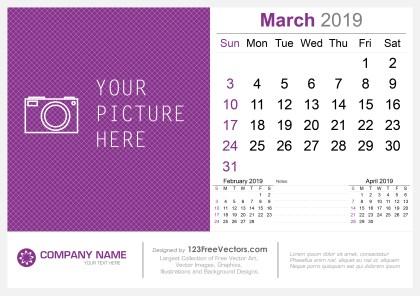 March 2019 Desk Calendar