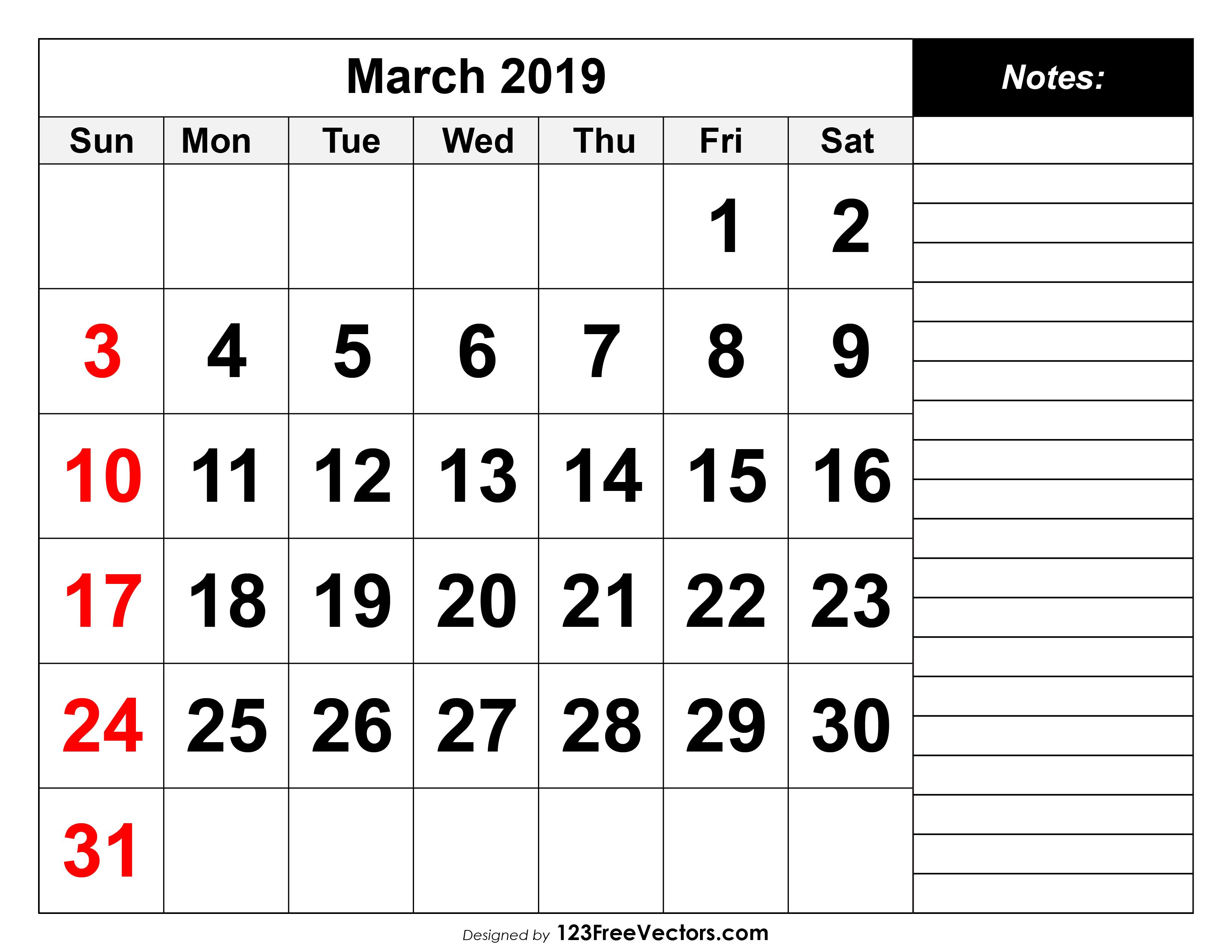 photograph about March Printable Calendar named March 2019 Printable Calendar