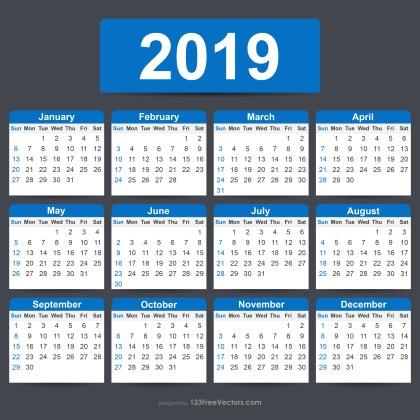 Free Editable Calendar 2019