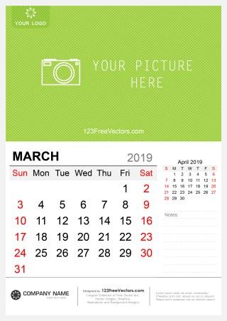 Wall Calendar March 2019