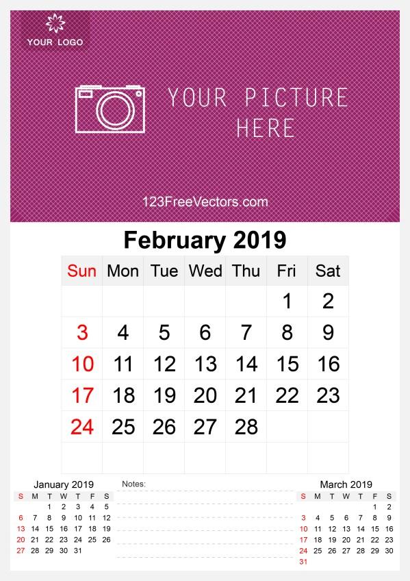 2019 February Wall Calendar Template Free