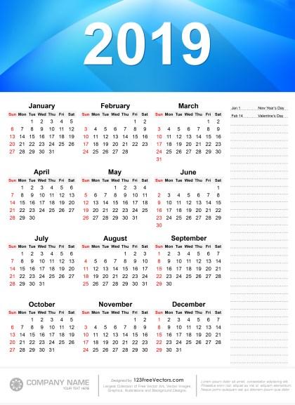 2019 Printable Calendar Free