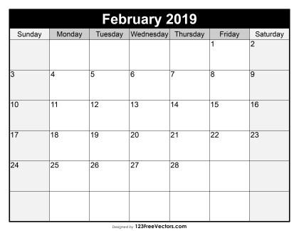 Blank February Calendar 2019