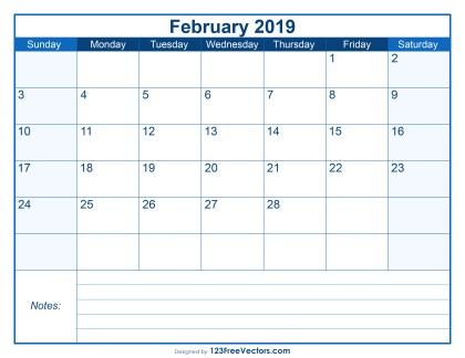 Blank Printable February Calendar 2019