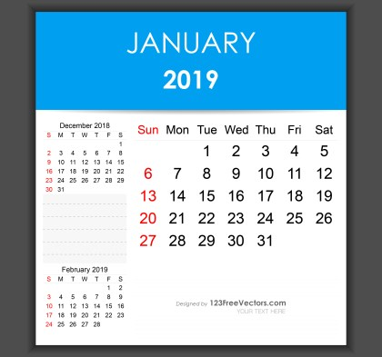 Editable January 2019 Calendar Template