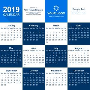 2019 Calendar Illustrator Template