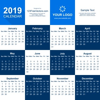 2019 Calendar Illustrator Template