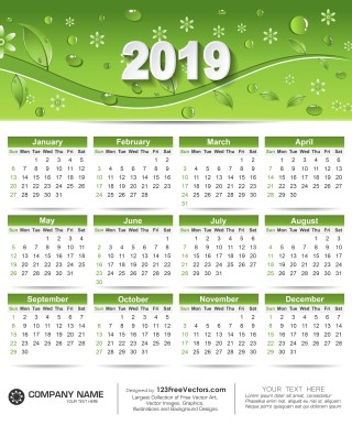 Free Printable Calendar 2019 with Green Leaves