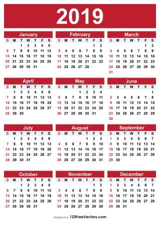 2019 Free Printable Calendar