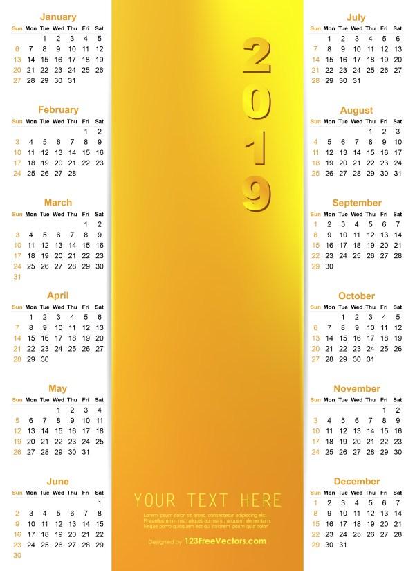 Vector Golden Calendar 2019