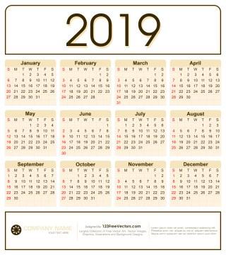Calendar 2019 Design Vector