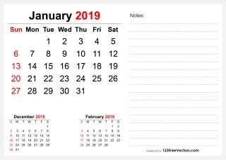2019 January Desk Calendar Design