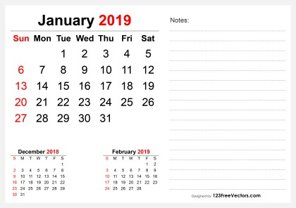 2019 January Desk Calendar Design