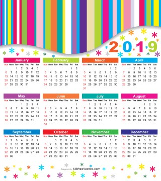 Free 2019 Colorful Calendar