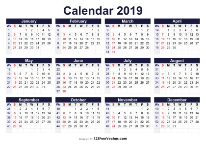 Printable 2019 Calendar with Week Numbers