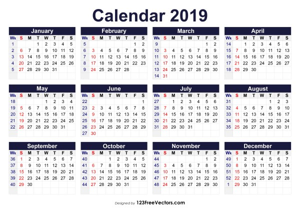 2019 Calendar With Week Numbers Printable 2019 Calendar with Week Numbers