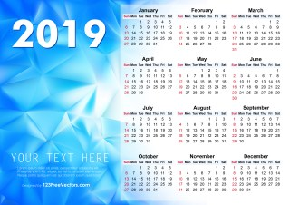 2019 Vector Abstract Blue Calendar Design
