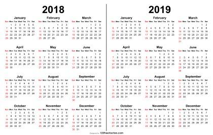 2018 and 2019 Calendar Printable